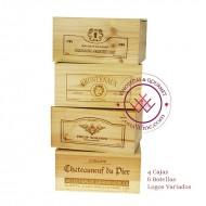 Lote 4 cajas rusticas de 6 botellas -Logos variados|GR1416