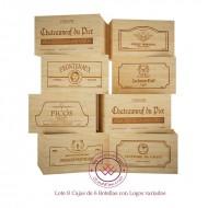Lote 8 cajas/ 6 botellas en madera rustica con logos|GR1806