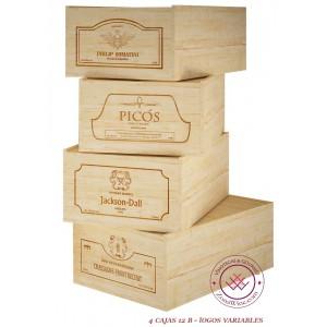 Kit 4 cajas de madera de 12...