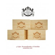 Pack de 4 Cajas rusticas  Personalizadas /6 botellas |GR0404