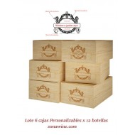 Pack de 6 Cajas rusticas Personalizadas de 12 botellas|GR0612