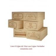 Kit 6 Cajas de Madera de 12 botellas con Logos Variados|GR1612