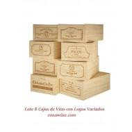 Kit 8 cajas de madera de 12 botellas de vino. Logos Variados|GR1812