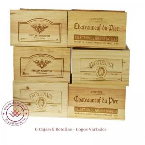 Set de 6 Cajas de vino en madera para  6 Botellas con logos variados|ZGR1606