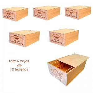 Lote de 6 cajas grandes de madera para 12 botellas. Logos variados|ZGR0612