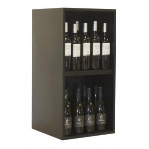 Cubo botellero doble en madera negra para 20 botellas|EX6218 Serie Merlot