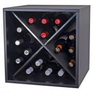Botellero Cuadrado Negro 16 botellas|Serie combinable Merlot|BL6116