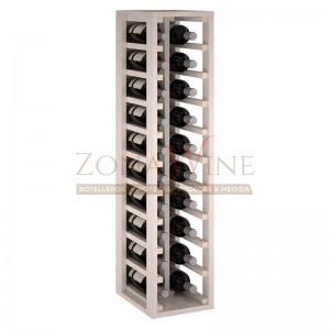 Botellero modular para 20 botellas de vino en madera de pino pintado en blanco - foto 2