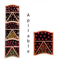 Botellero decorativo apilable en madera ondulada para 29 botellas|EX6610