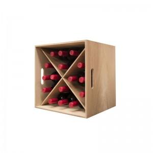 Cubo Botellero apilable  en madera rustica para 16 botellas|Ref 246010