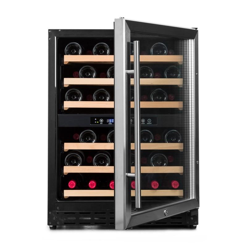 Pequeña vinoteca para 50 a 60 botellas → Vinobox 50GC 2T - vista frontal puerta abierta