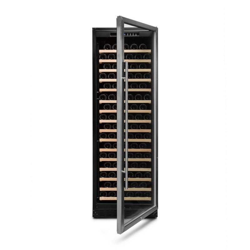 Vinoteca 168 botellas color negro → Vinobox 168GC 1T Inox - vista frontal con la puerta abierta
