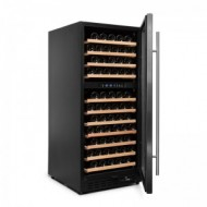 Nevera vinoteca 110 botellas → Vinobox 110GC 2T Inox - vista lateral puerta abierta