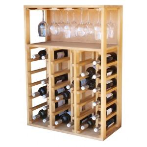 Botellero para vinos y copas en madera de pino o roble|EX2522