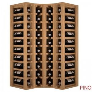 Botellero para rincón en madera de pino o roble. Capacidad 40 botellas|EX2030