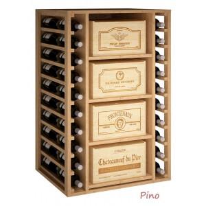 Estantería para 4 cajas de madera y 20 botellas de vino o cava|EX2546