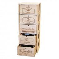 Estanteria de pino con 5 cajones para botellas y accesorios del vino|EX2552