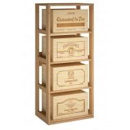 Estantería para 4 cajas de vino sobre baldas extraibles|EX2558