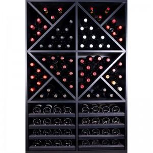 Mueble Botellero Merlot negro con baldas para 112 Botellas |EX8150