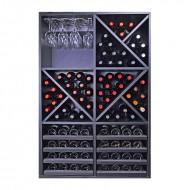 Armario botellero en madera negra para 92 botellas y copas|EX8155