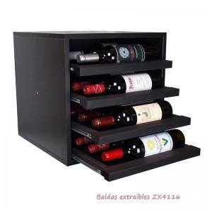 Cubo botellero negro con baldas horizontales para 16 botellas|EX4116
