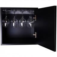 Cubo botellero negro combinable con soporte para copas BL6501