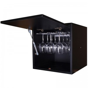 Botellero cubo en negro con puerta abatible y soporte para copas